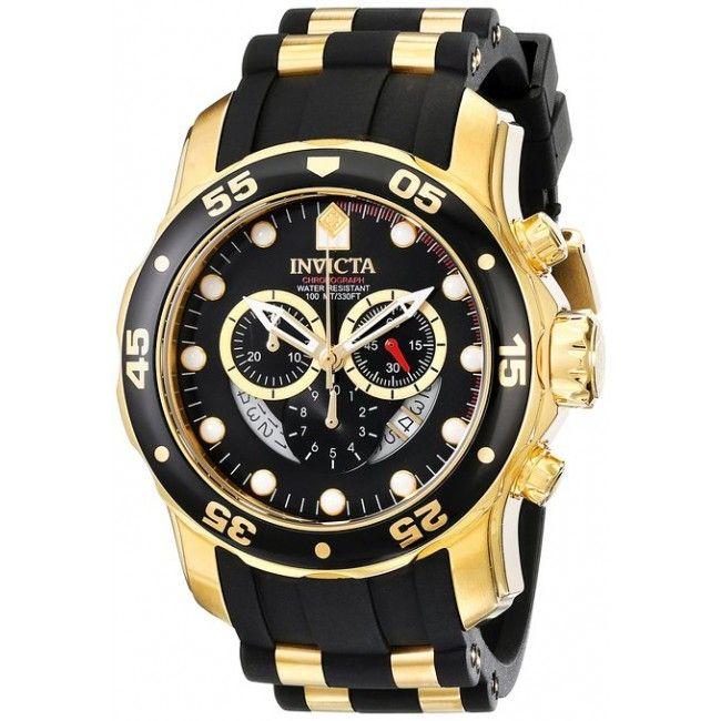 ba8cc9f8c5a Relógio masculino Invicta 6981 Pro Diver banhado a ouro 18k ...