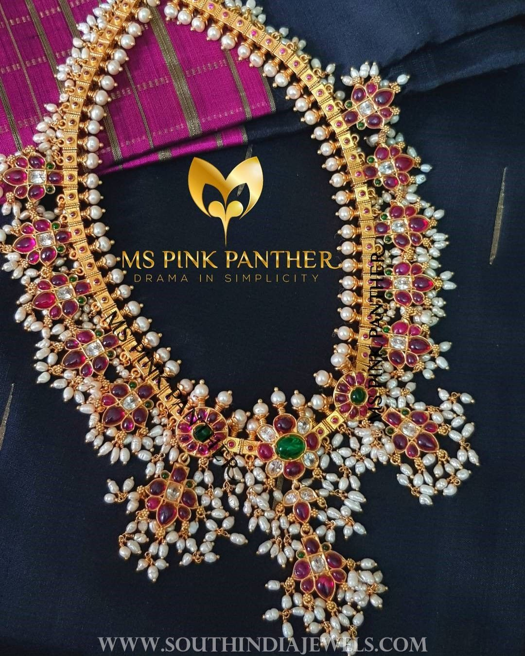 694535529850f Gold Plated Guttapusalu From Ms Pink Panther | Necklace Collections ...