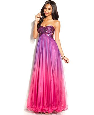 Blondie Nites Juniors\' Strapless Sequin Ombre-Print Gown Purple ...