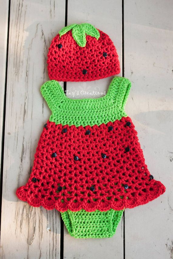 Crochet Strawberry Baby Dress by TayKnitCrochet on Etsy, $25.00 ...