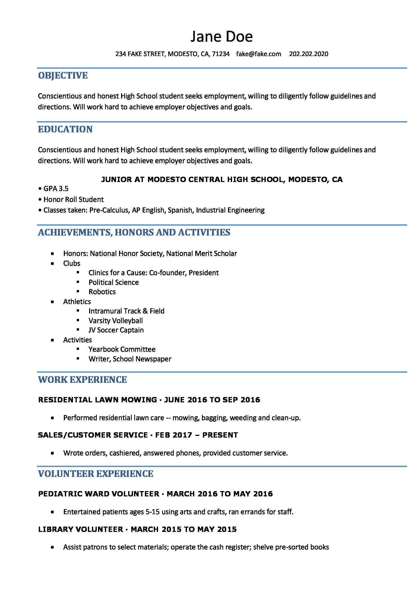 Resume Format For High School Students ResumeFormat