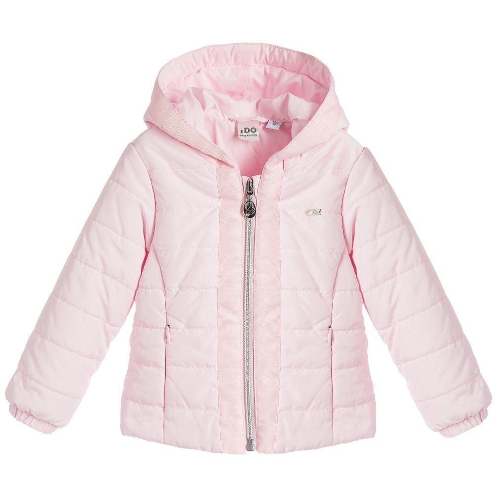 iDo Baby Girls Pale Pink Quilted Jacket with Hood at Childrensalon ...