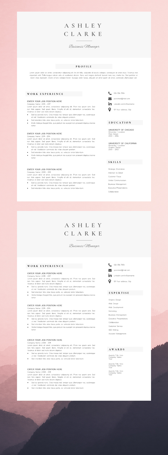 Resume Template 5 Pages Cv Template Professional Resume Etsy Resume Design Template Resume Template Professional Resume Design Professional