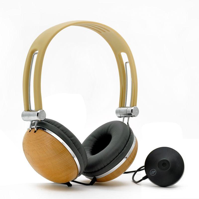 Woody Retro Style Wood Stereo Headphones With Detachable Microphone Stereo Headphones Retro Headphone Music Headphones
