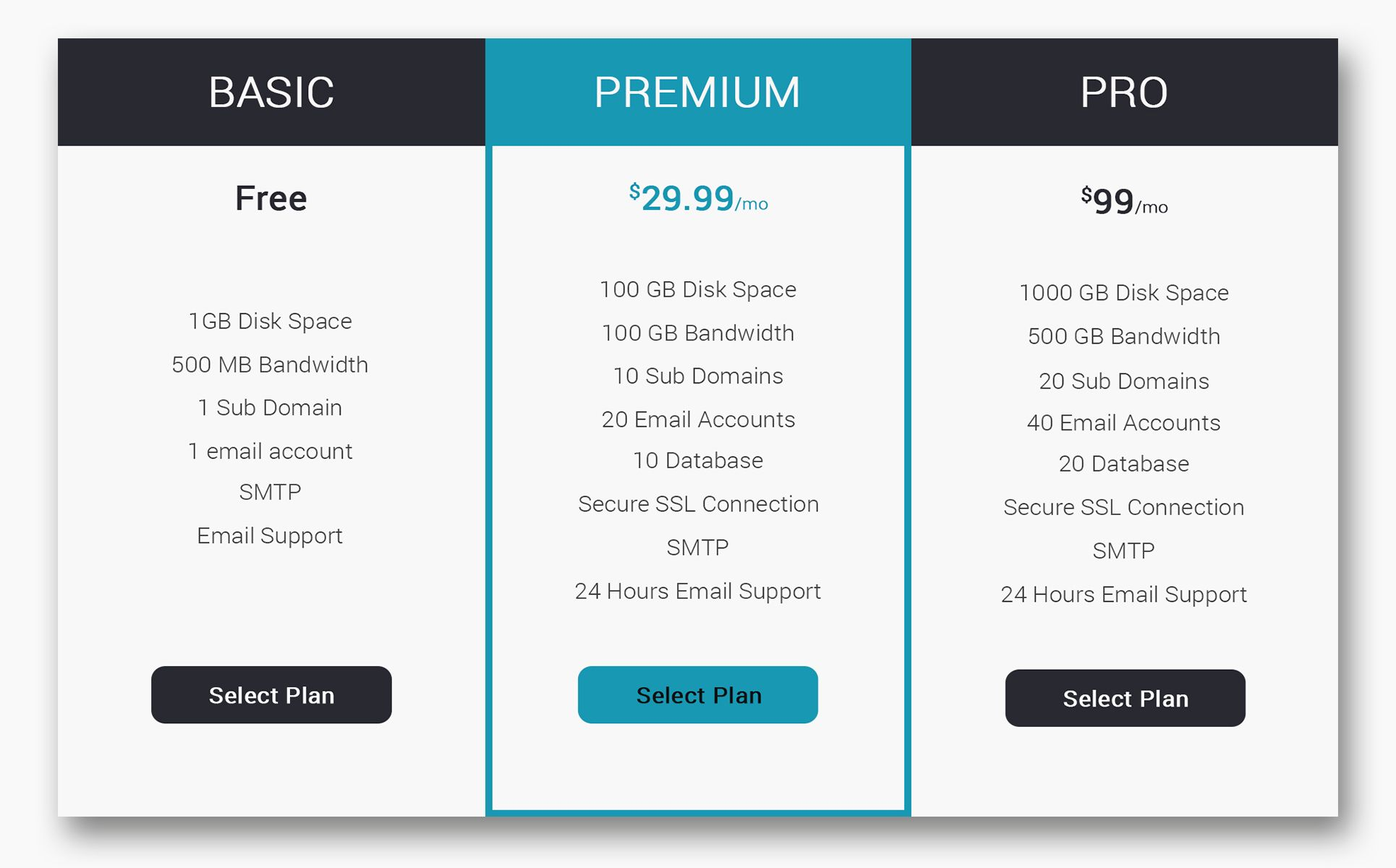 Comparison – Pricing Table Infographic Elements 70537