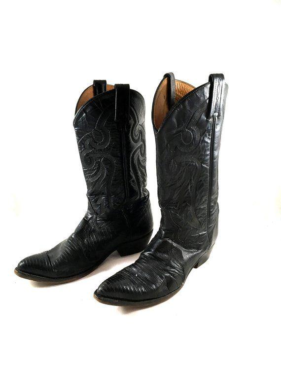 5b43f89137e Vintage TONY LAMA Boots. Black Teju Lizard Skin Boots. Leather ...