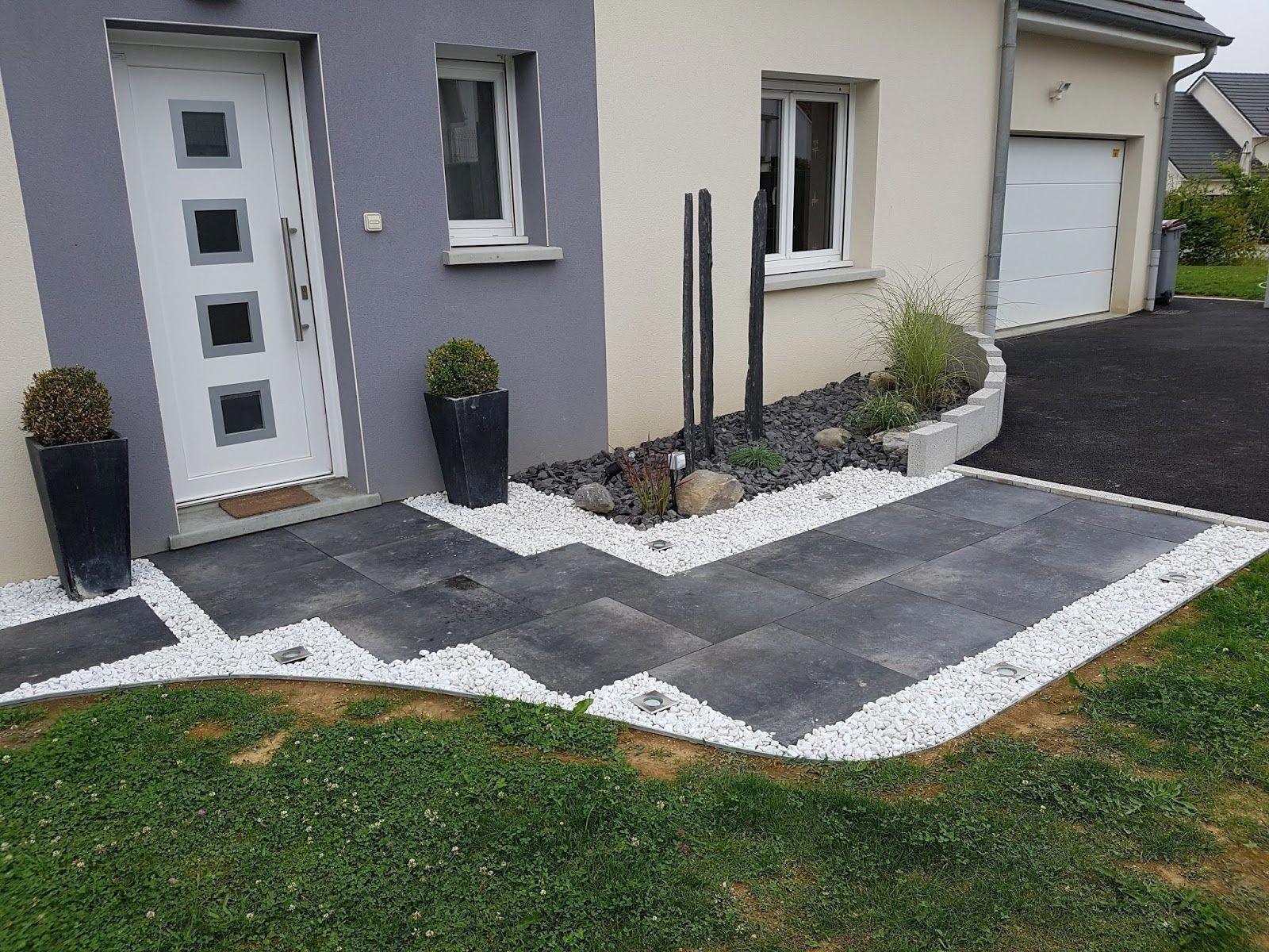 Entreprise Amenagement Exterieur Moselle entrée dalles graviers (allée, galets) | aménagement jardin