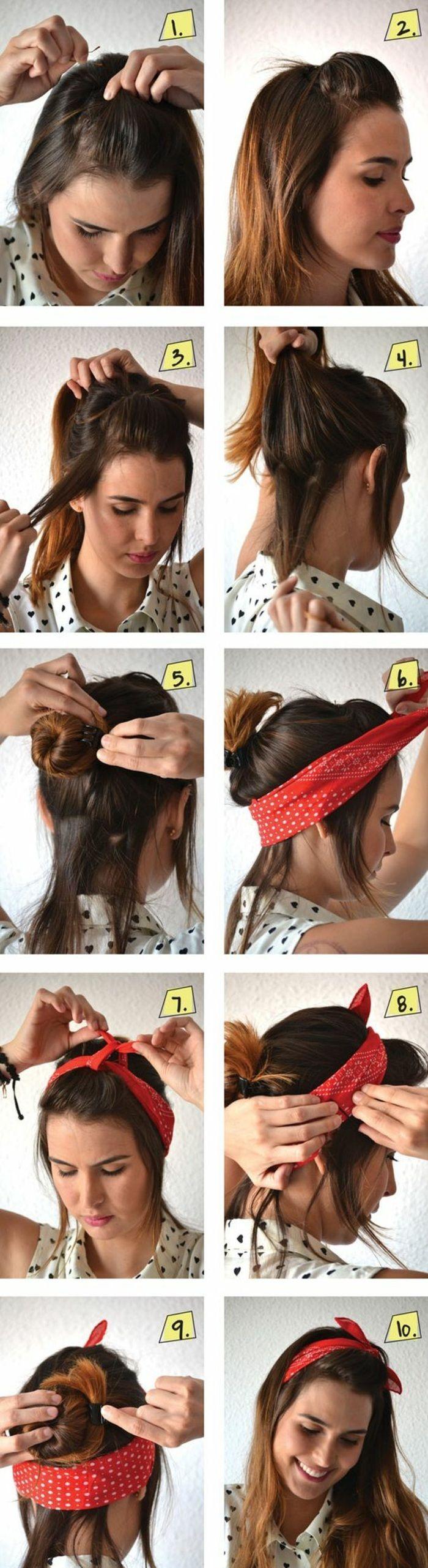 Bandana Binden Rotes Haarband Gepunktetes Hemd Braune Haare Diy Frisur Haarband Frisur Frisuren Mit Bandana Frisuren