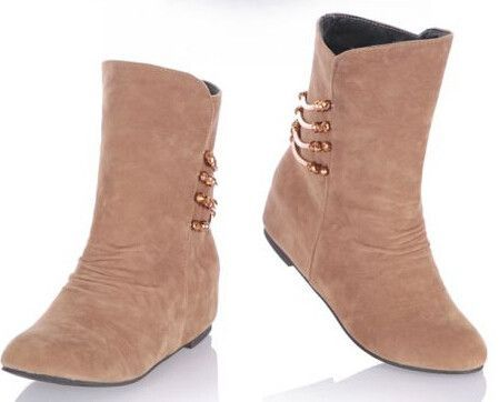 Women new fashion Autumn spring 2015 casual nubuck leather martin boots 4cm hidden heels shoes large plus size 40-45