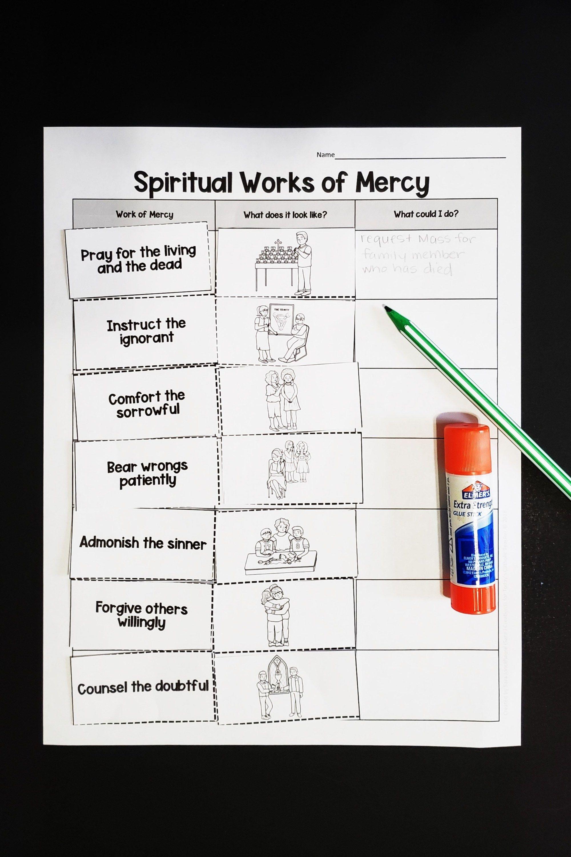Printable Activity Spiritual Works Of Mercy Sort
