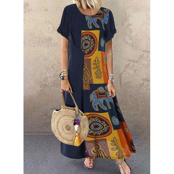 Color Block Round Neckline Short Sleeve Maxi X-line Dress (1955428020)
