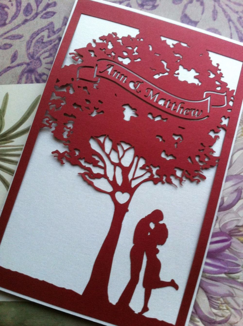 Red romantic Wedding invitation card with tree laser cut wedding ...