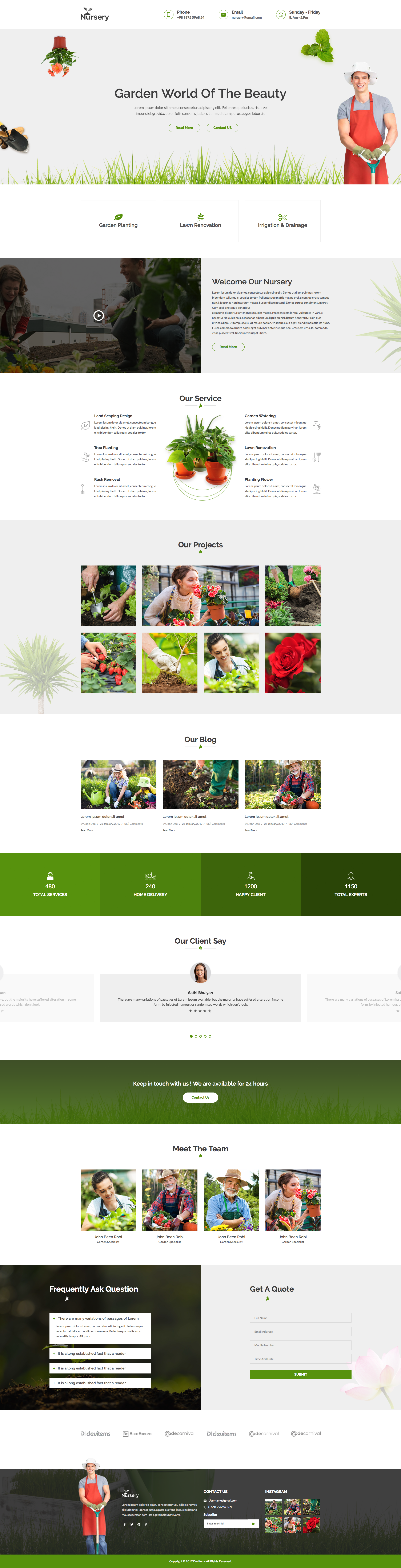 Nursery - Gardening and Landscaping HTML Template. This is designed on garden park logos, garden club logos, garden logos design, garden nursery logos,