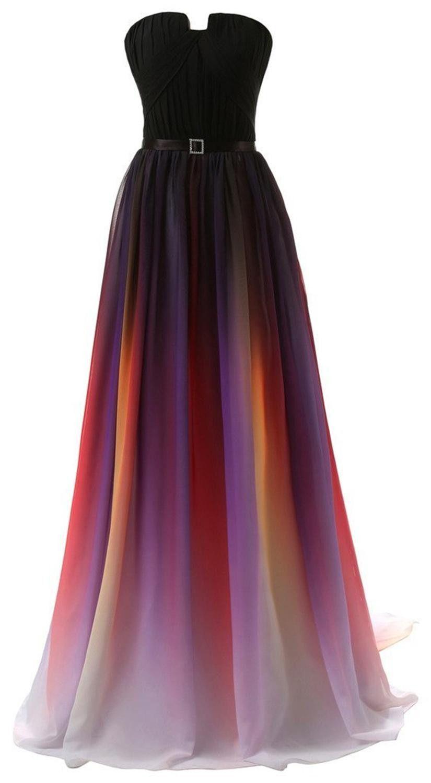 Womenus Gradient Colorful Chiffon Long Formal Evening Prom Dresses
