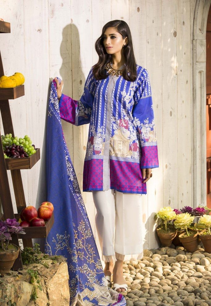 d8ab34b063 printed lawn blue and purple suit by Sapphire Summer Lawn | Sapphire ...