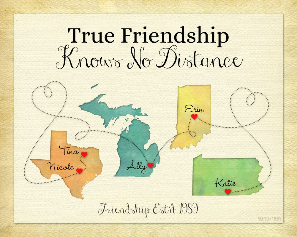 Long distance friend gift personalized gift moving away present long distance friend gift personalized gift print for friends moving away gift idea distance quote birthday gift 4 place map print negle Choice Image