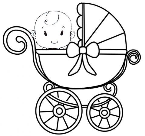 Funny And Captivating Cute Baby Carriage Coloring Page Hand