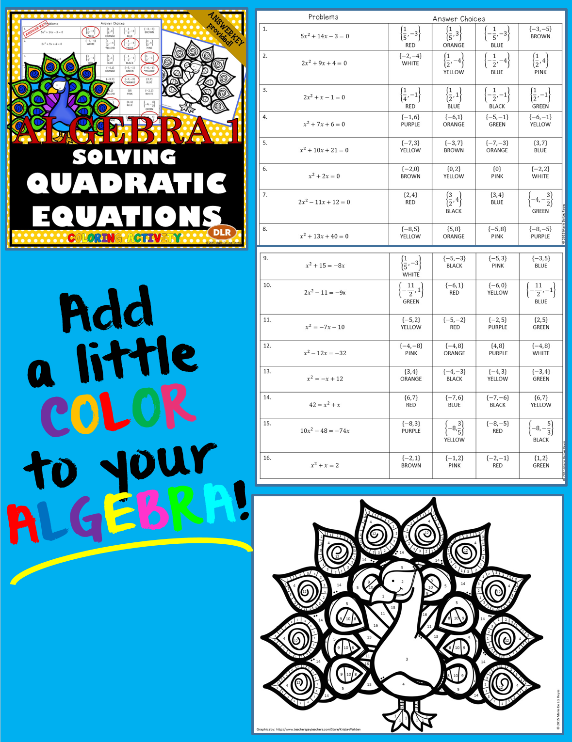 Solving Quadratic Equations Coloring Activity in 2018 | Algebra ...