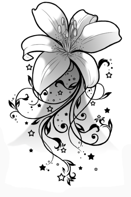 Unique-Black-Lily-Flower-Tattoo-Stencil-By-Albi.png (432×648 ...