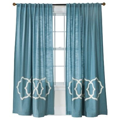 White Gray Embroidered Curtain Panel