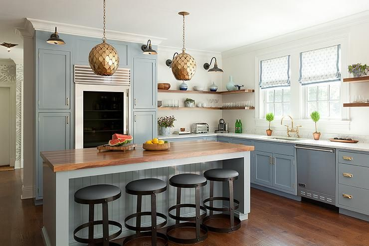 Blue Gray Kitchen With Shaker Cabinets Arteriors Osgood Iron Pendants