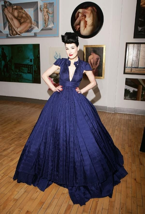 66d5cc3b31 Dita Von Teese in a huge blue wedding ball gown    for a vintage inspired  wedding!