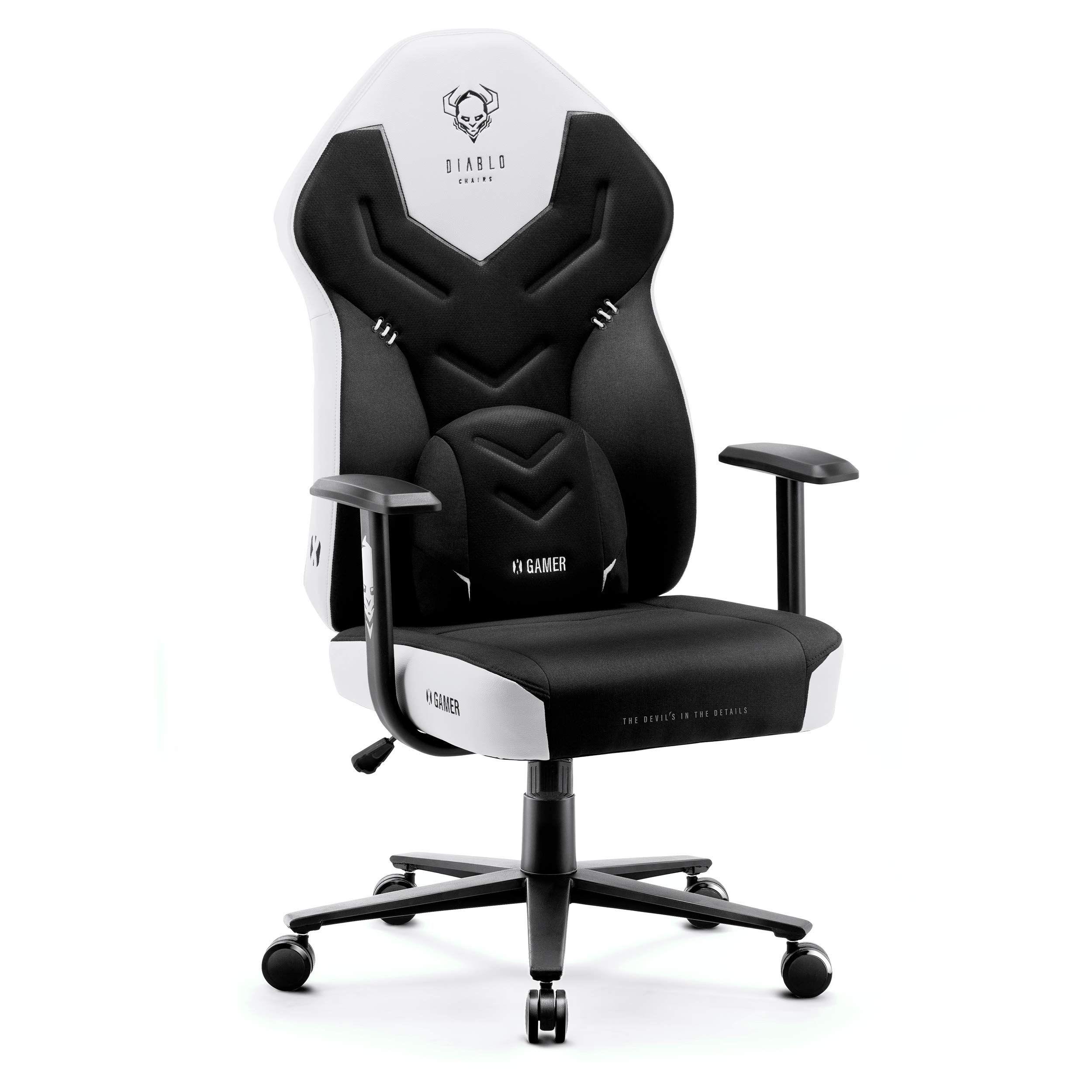 Diablo X-Gamer 2.0 Gaming Office Desk Chair Fabric Cover Ergonomic Design Lumbar Cushion Comfortable Armrests (Black-Black)