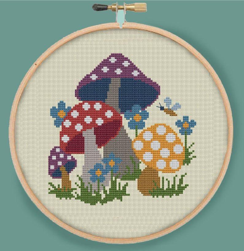 Retro Mushrooms Modern Counted Cross Stitch Pattern Pdf Etsy In 2020 Cross Stitch Patterns Floral Cross Stitch Pattern Floral Cross Stitch