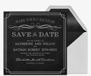 Chalkboard chic save the date invitation evites and invites chalkboard chic save the date invitation filmwisefo Gallery