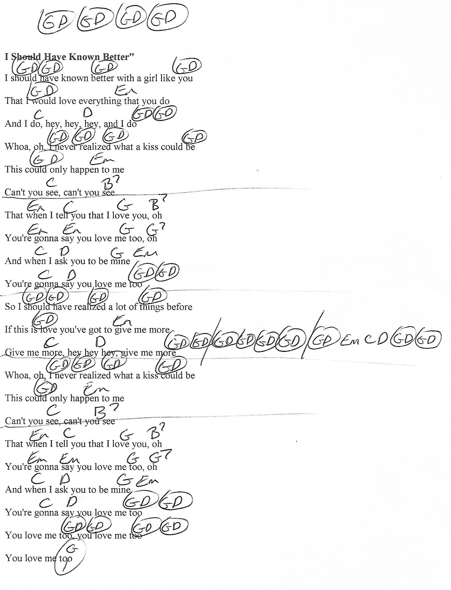 I Should Have Known Better Beatles Guitar Chord Chart With Lyrics