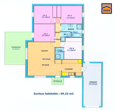 plan maison plein pied 4 chambres casa Pinterest - maisons plain pied plans gratuits