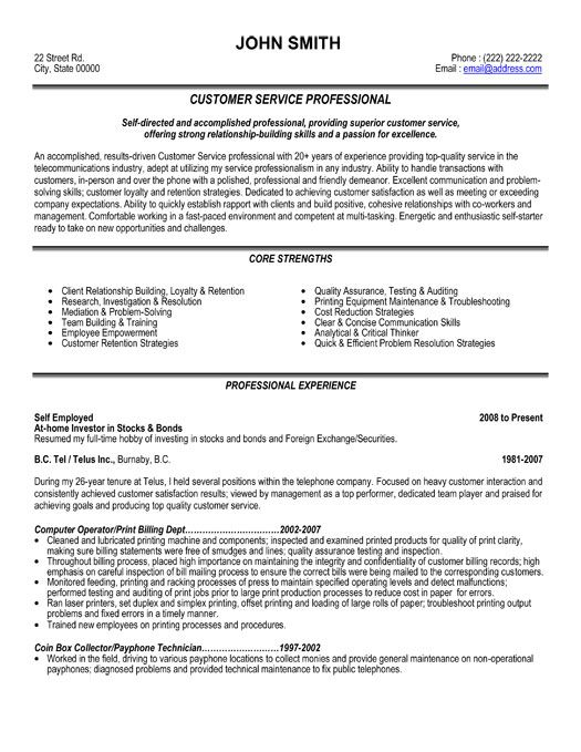 Resume Templates To Print For Costumer Service | Customer Service