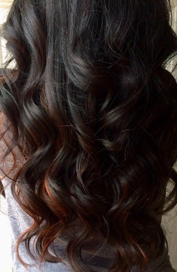 My new hair black hair with peekaboo highlights hair i love