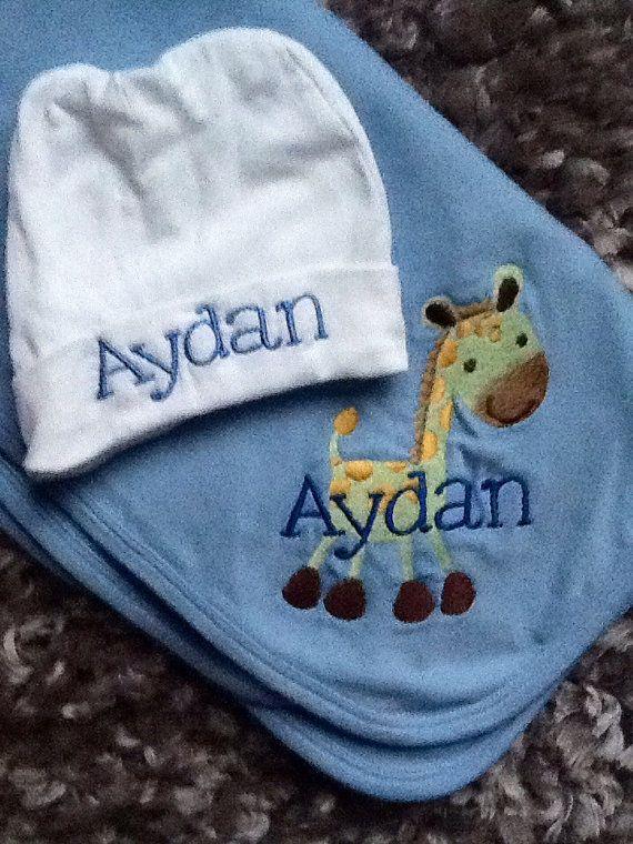 Custom personalized baby gift set baby blanket infant beanie hat custom personalized baby gift set baby by cuddlystitchesbycjk negle Choice Image