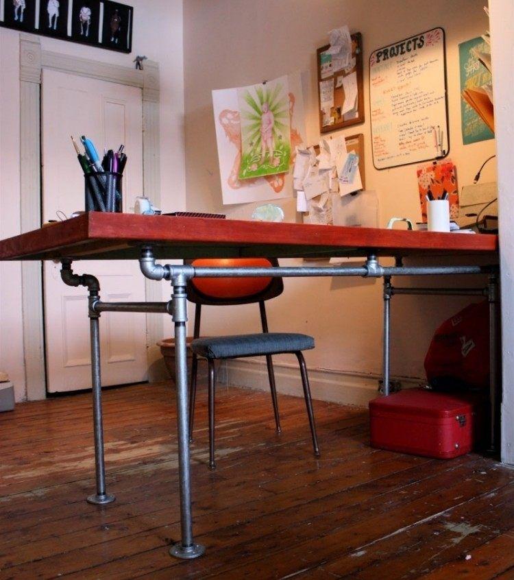 diy schreibtisch aus alten r hren und holzt r wohnideen schreibtisch diy schreibtisch und tisch. Black Bedroom Furniture Sets. Home Design Ideas