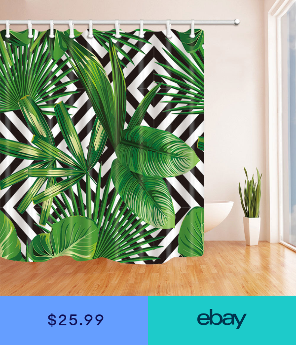 Green Tropical Palm Leaf Shower Curtain Waterproof Fabric 12hooks 71 106inches Tropical Shower Curtains Leaf Curtains Palm Leaves