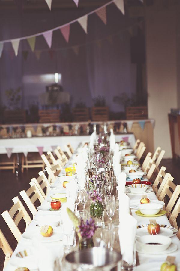 DIY Village Hall Wedding Long Tables http://www.onloveandphotography.com/
