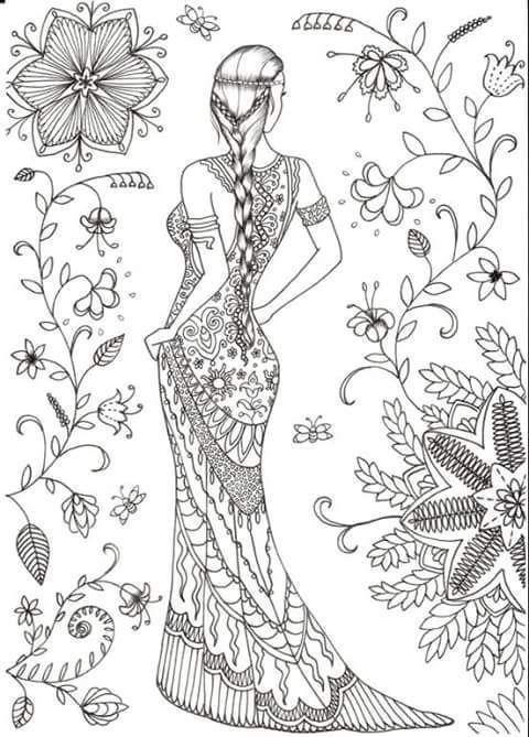 Saree/Indian Girl Coloring Page | узоры, орнаменты/painting, pattern ...