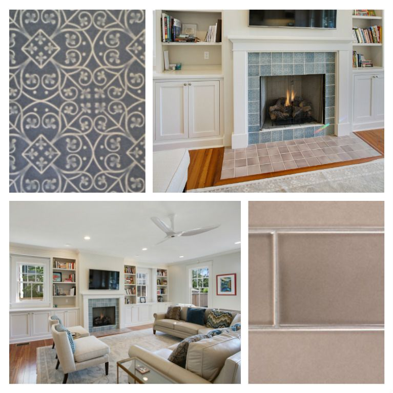 Beautiful Pratt & Larson fireplace surround and hearth. We love this soft, muted palette. M2 Studio and Circa Builders were behind this amazing great room renovation.