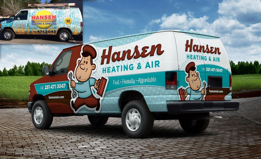 Rebranding your HVAC Business Before and After Truck Wrap