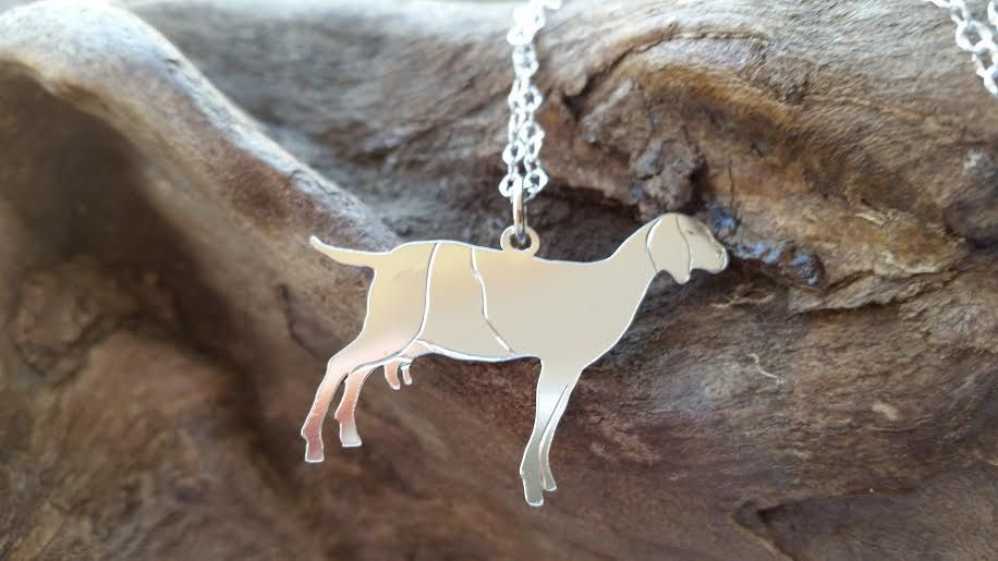 Dairy Goat Necklace, Silver Goat Pendant, Livestock Pendant, Silver Jewelry, Milk Goat, Farm Animal Necklace, FFA Jewelry, Nubian Goat by BluegrassEngraving on Etsy