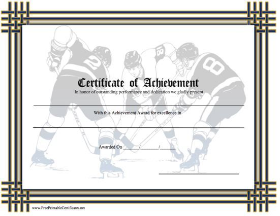 A Printable Certificate Of Achievement For The Sport Hockey Featuring Several Players With Sticks And Pucks On Ice Free To Print