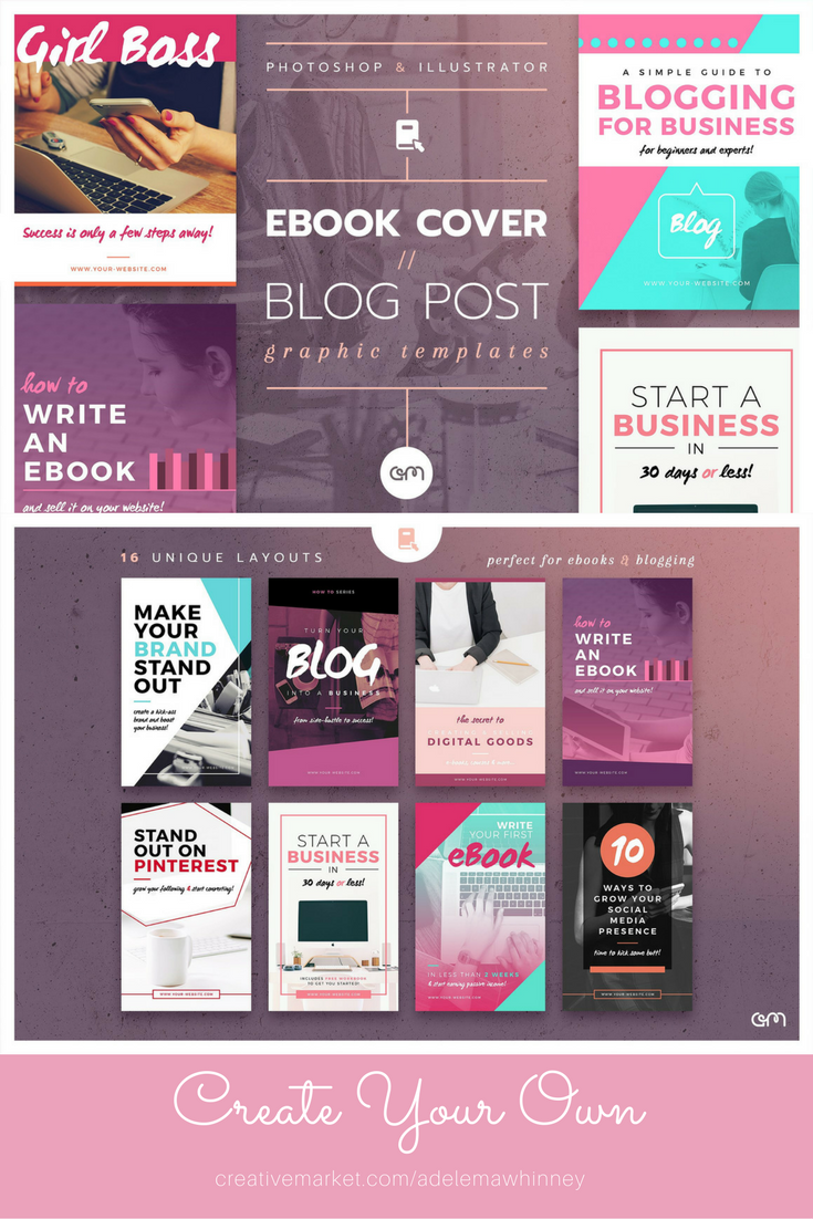 16 easy to edit, fully customisable Ebook Cover / Blog Post ...