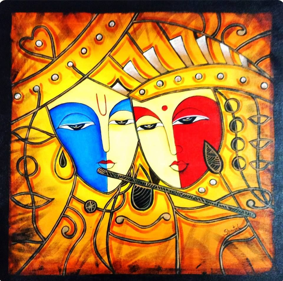 Radha krishna modern art acrylic on canvas http www for Mural examples