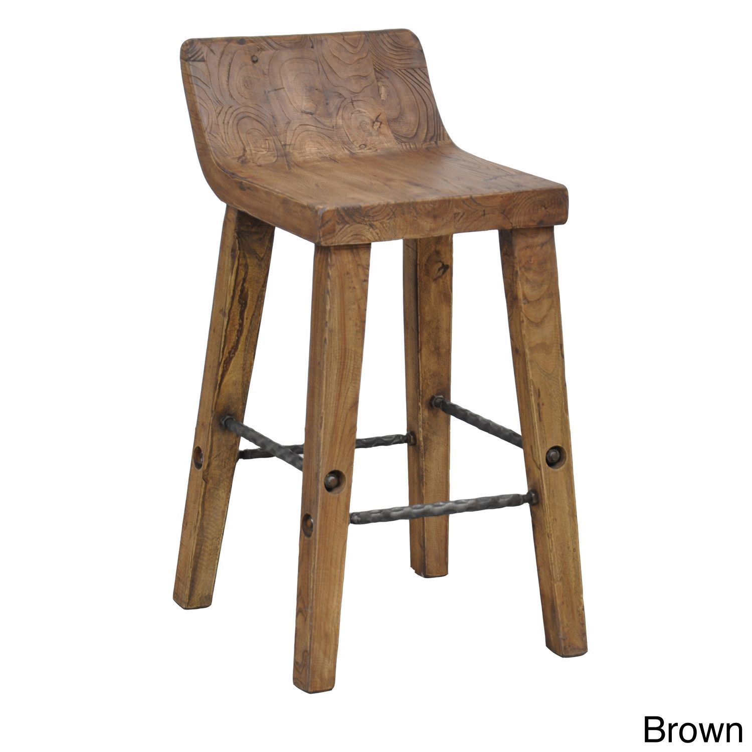 Kosas Home Tam Rustic Elm Wood and Iron Low Back 24-inch Counter Stool  sc 1 st  Pinterest & Kosas Home Tam Rustic Brown Elm Wood and Iron Low Back 24-inch ... islam-shia.org