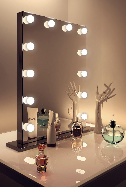Diamond X Gloss Black Hollywood Makeup Mirror Warm White