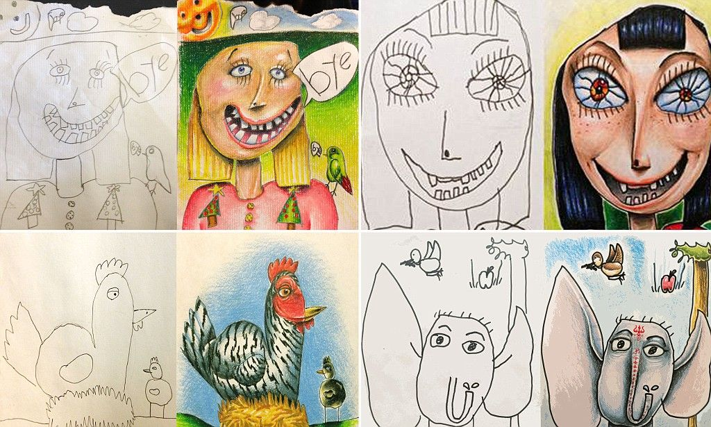 Line Drawing Of Child S Face : Children s drawings become hit after father colours them in on