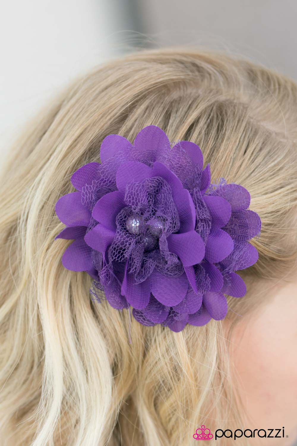 Hair bow button accessories - Madame Hatter 5 Hair Accessories Headbands And Jewelry Purple Tulle Flower
