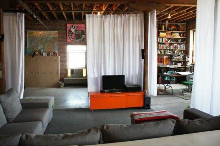 La séparation de pièce amovible, optez pour un rideau!   salon ...