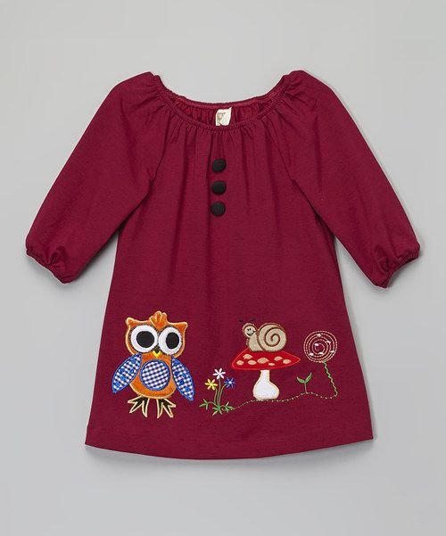 33f34b807 Look at this Burgundy Owl Peasant Dress - Toddler & Girls on #zulily today!